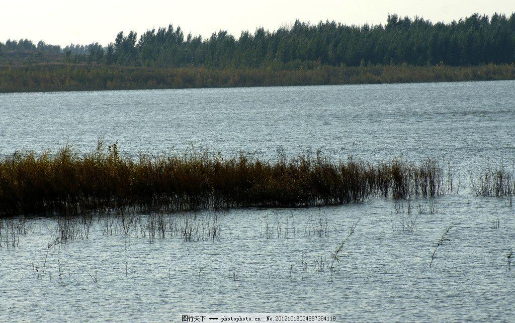 水库 水面 河岸 小岛 自然风景 自然景观 摄影 350dpi jpg