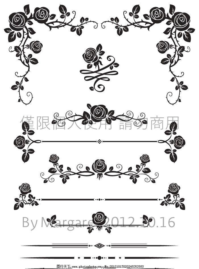 玫瑰花边 淡雅 黑白 手绘 素描 白描 线稿 线描 花朵 花卉
