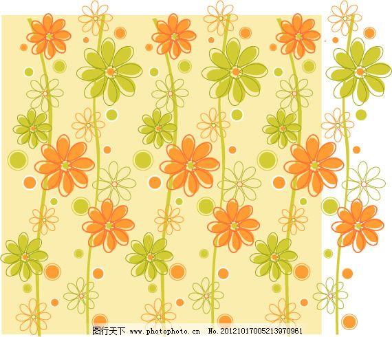 矢量可爱卡通花卉素材免费下载 背景 卡通 可爱 连续花纹 平铺 素材