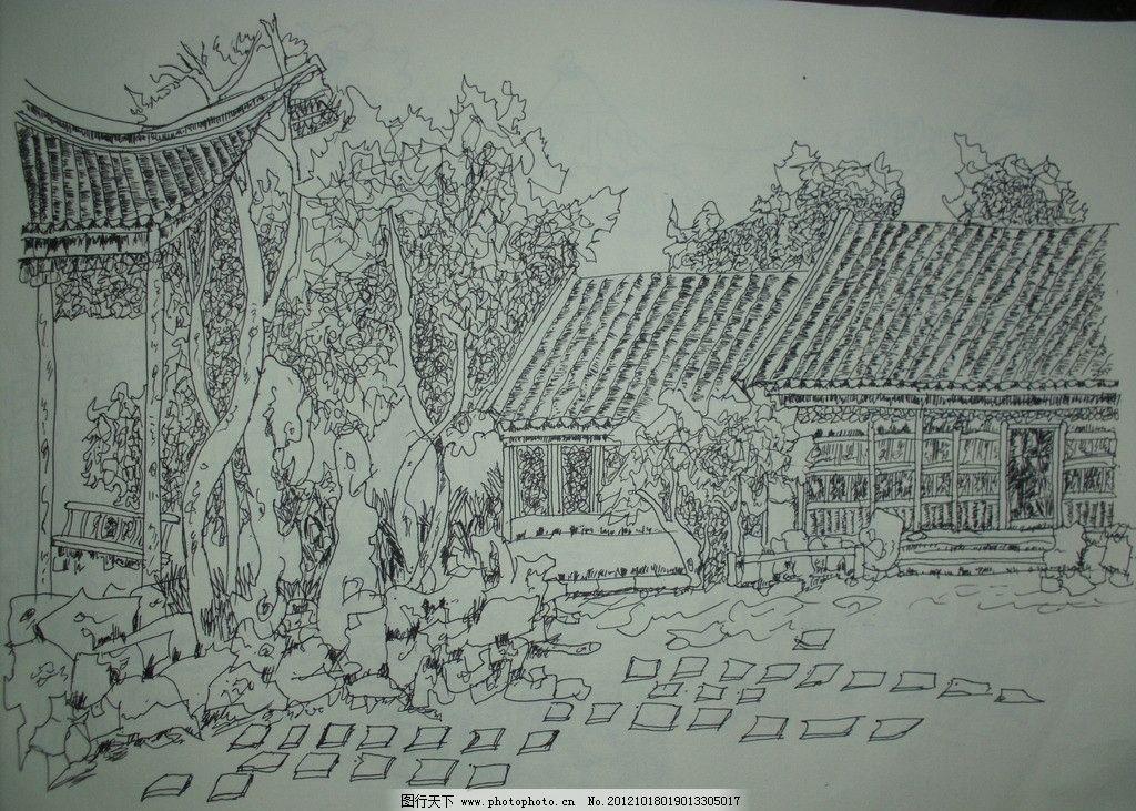 园林手绘效果图 园林 景观 建筑 树木 钢笔画 手绘图        线条画