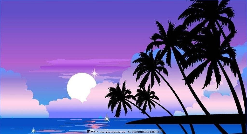 移门 矢量 月亮 椰树 海 云 湖面 广告设计 矢量移门 移门图案 ai