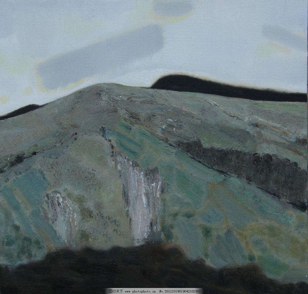 油画风景 山 石头 写实 写生 绘画书法 文化艺术