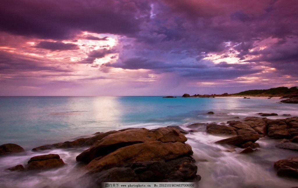海洋 海水海边 白云 霞光 阳光 光线 日出 日落 落日 余晖 天空 云彩