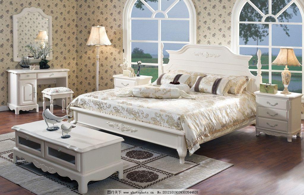 家具用品 床 套房 欧式风格 卧室 家居艺术 柜子 室内摄影 建筑园林