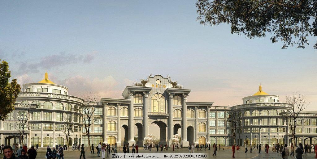 广场效果图 广场        建筑 欧式 柱子 禹王广场     建筑设计 环境
