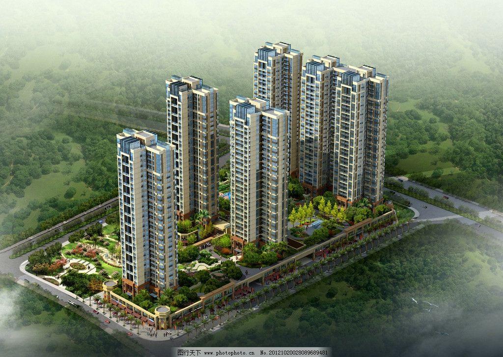 住宅鸟瞰图 住宅楼 建筑设计 景观规划 新区规划 住宅小区 滨水住宅