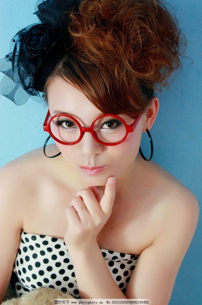 美女写真 美女 眼镜 嘟嘴 写真 自拍 女性女人 人物图库 摄影 350dpi