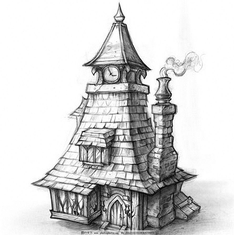 钟楼 房子 烟囱 小屋 卡通 素描 线稿 动画 场景 铅笔稿 怪屋 手绘