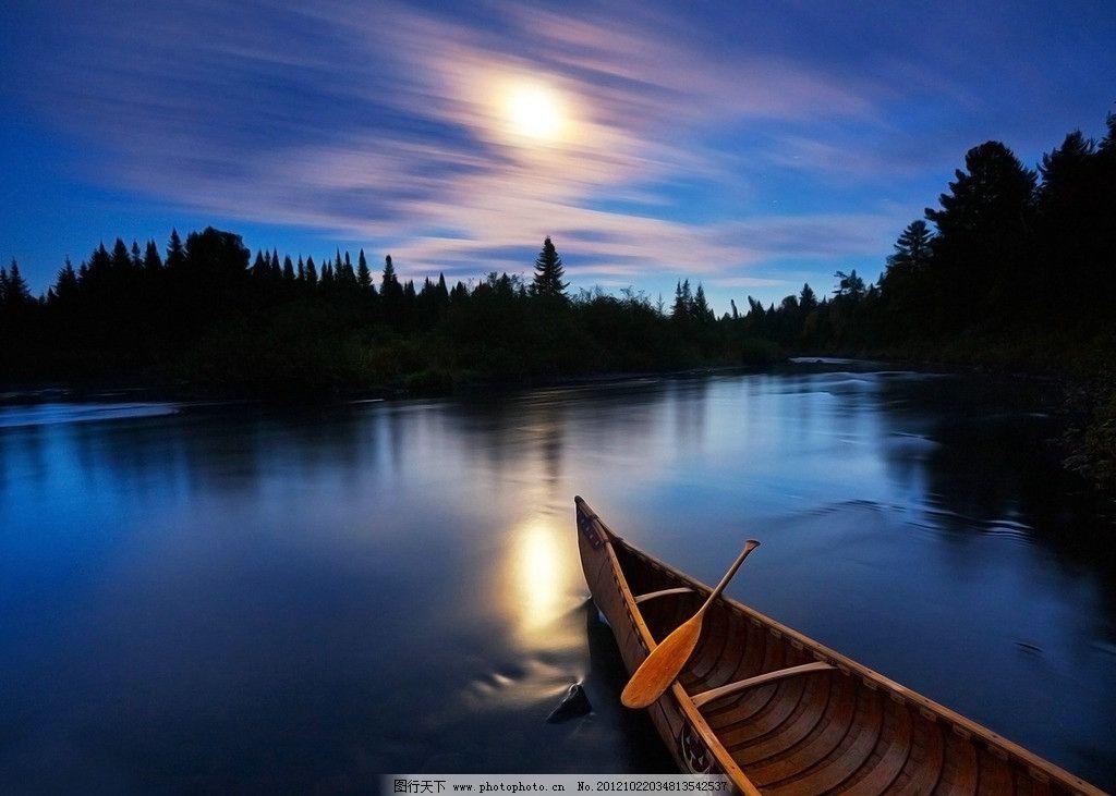 湖面 树林 朝霞 晨曦 早晨 小船 天空 云彩 自然风景 自然景观 摄影