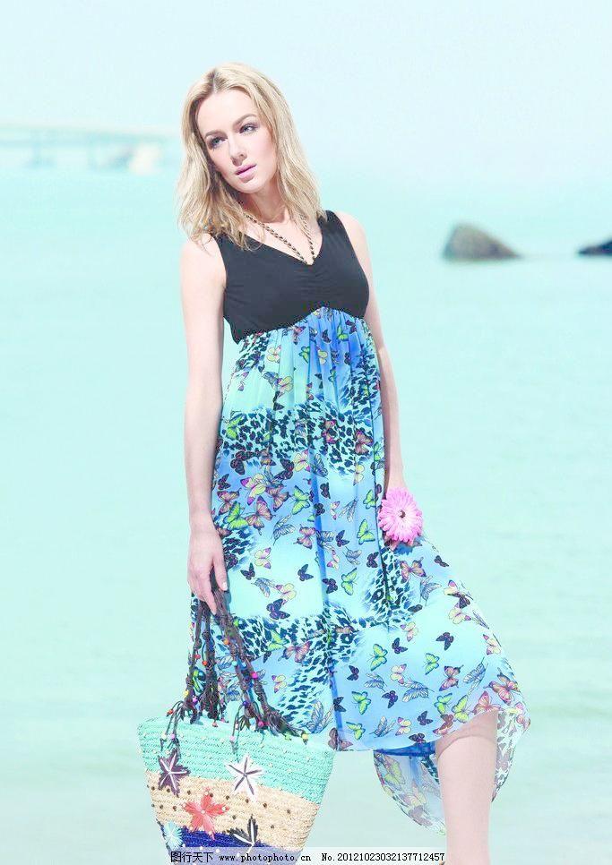 蓝色裙子图片