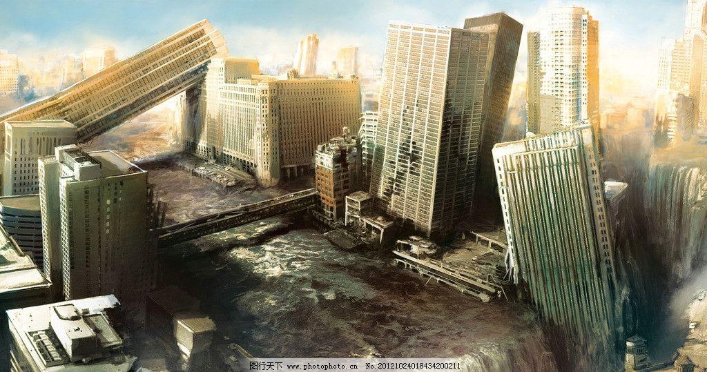 末日 建筑 房屋 倒塌 废墟 河流 死亡 桥梁 风景漫画 动漫动画 设计 3