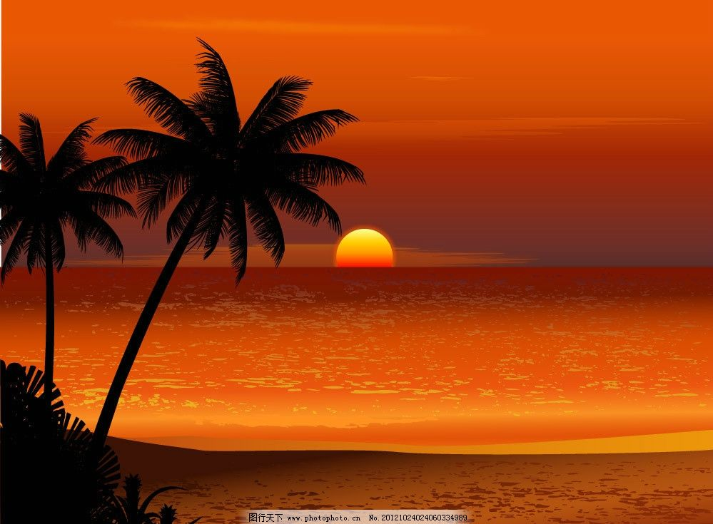 朝阳海洋风景 海滩 沙滩 椰子树 天空 云彩 风光 手绘 时尚