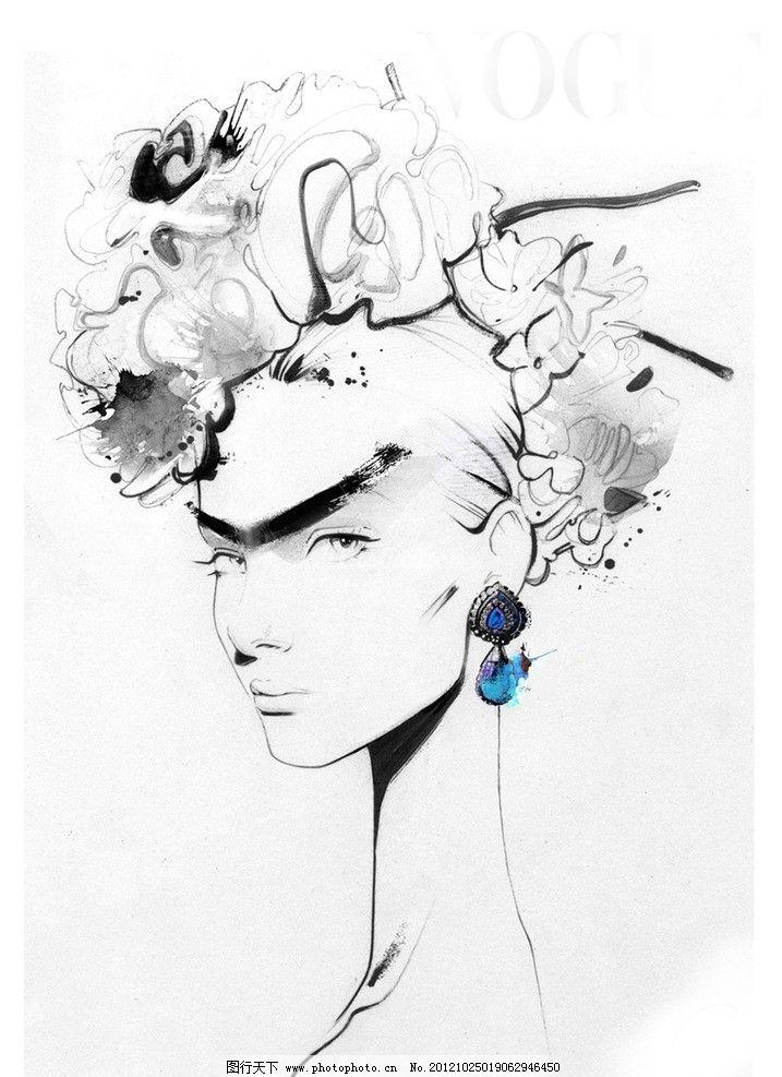 线描 手绘 炭笔 欧式 古典 迷人 美女 犀利的眼睛 大睫毛 浓眉 影子