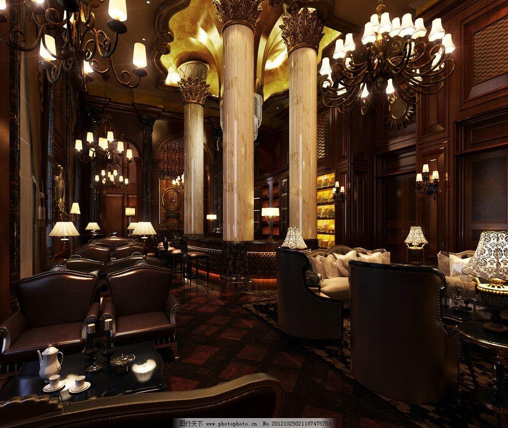 室内设计 欧式餐厅 吊顶 大理石柱子 室内模型 3d设计模型 源文件 max