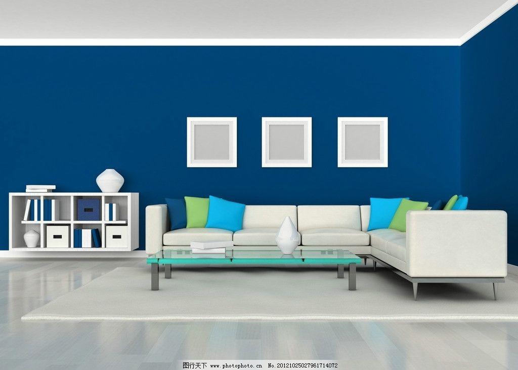 装修效果图 装饰 书架 小柜子 蓝色 背景墙 室内装修 室内效果图 沙发