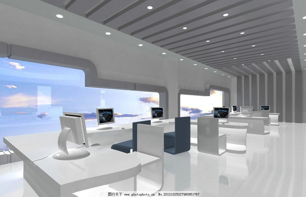 办公室效果图 设计 白色 现代 办公桌 吊顶 电脑 椅子 室内设计