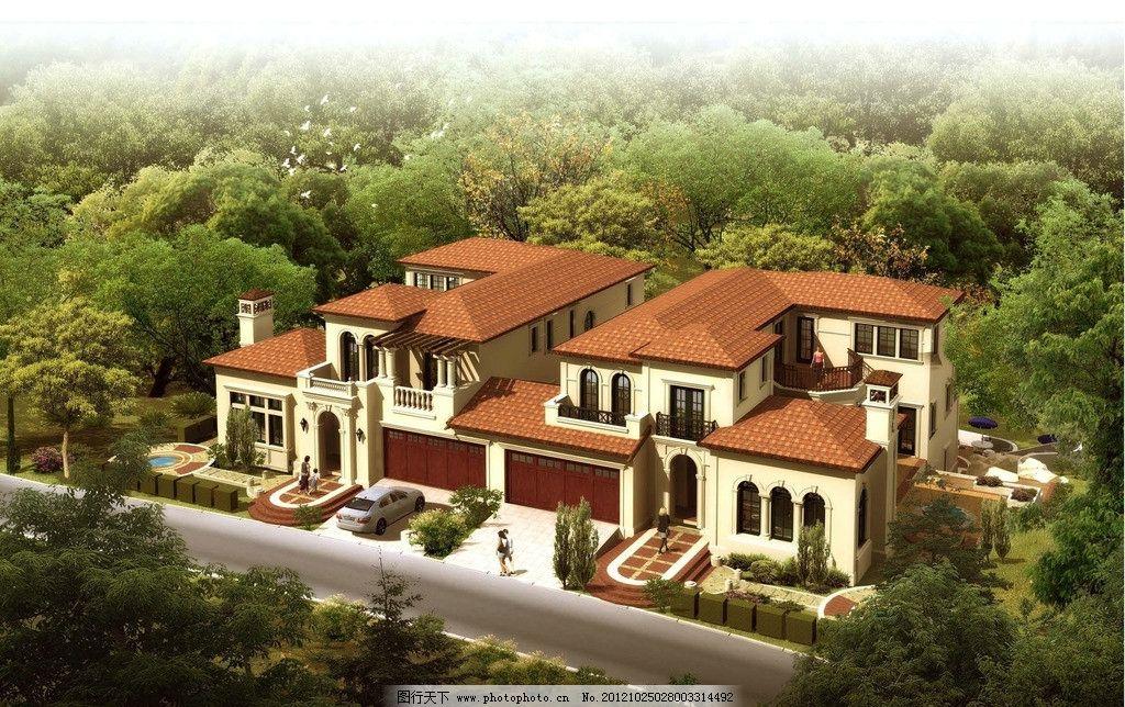 别墅效果图 双拼 别墅 欧式 建筑 车库 住宅 住房 建筑设计 环境设计