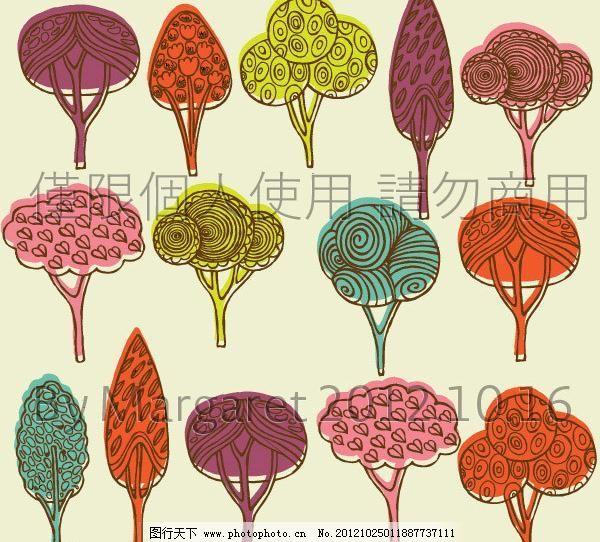 手绘小树林墙纸图片