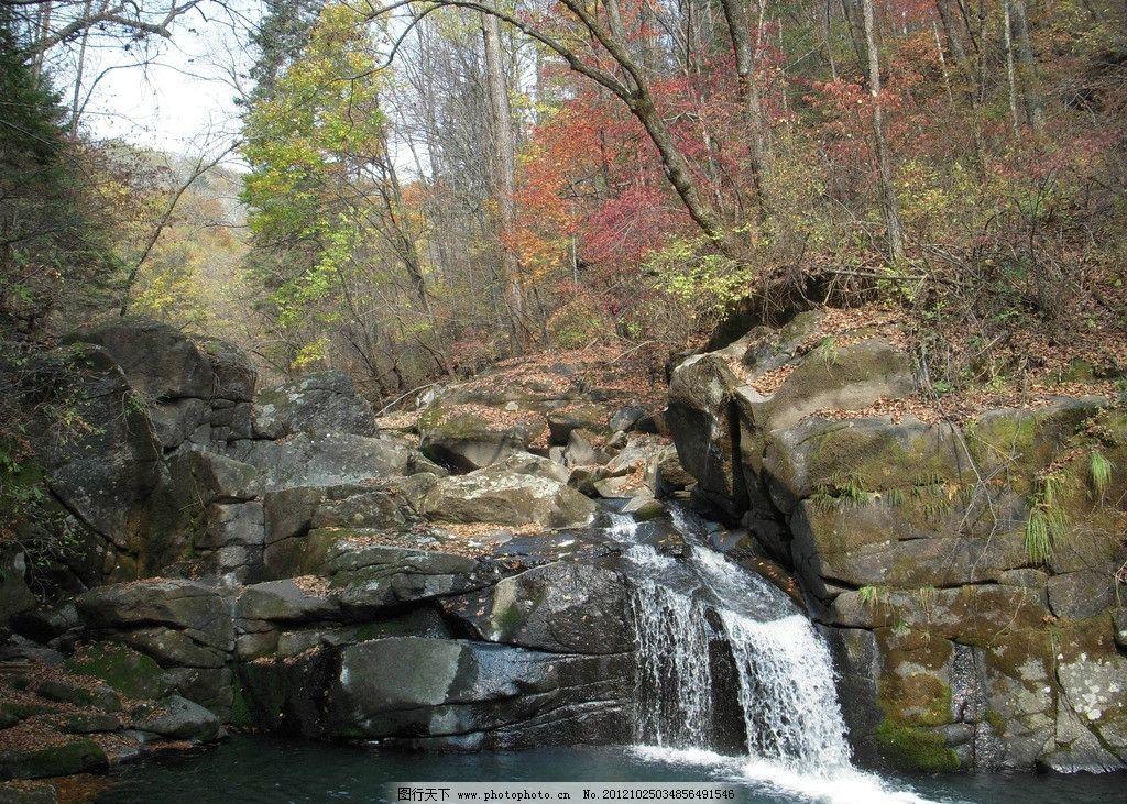 山水相依 山涧 小溪 流水 瀑布 枫叶 摄影图库 自然风景 自然景观