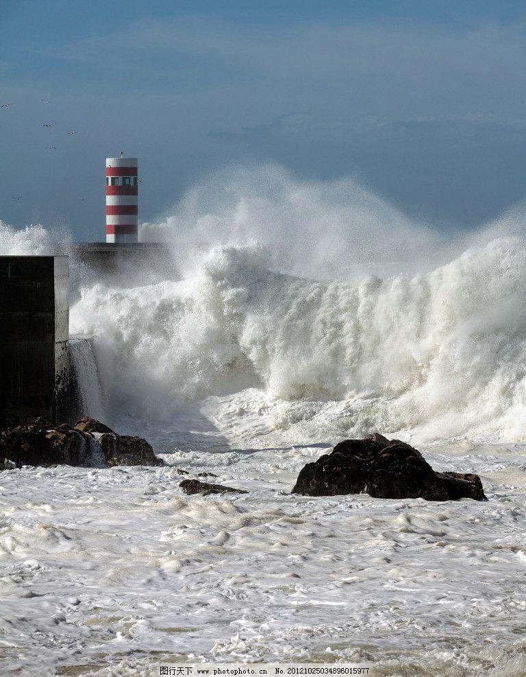 海啸 灯塔 大海 涨潮 灾难 自然风景 自然景观 摄影 300dpi jpg