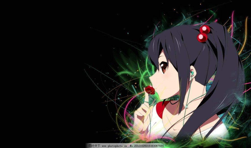动漫少女 动漫 少女 诡异 黑暗 黑色 流光 线条 草莓 动漫人物 动漫