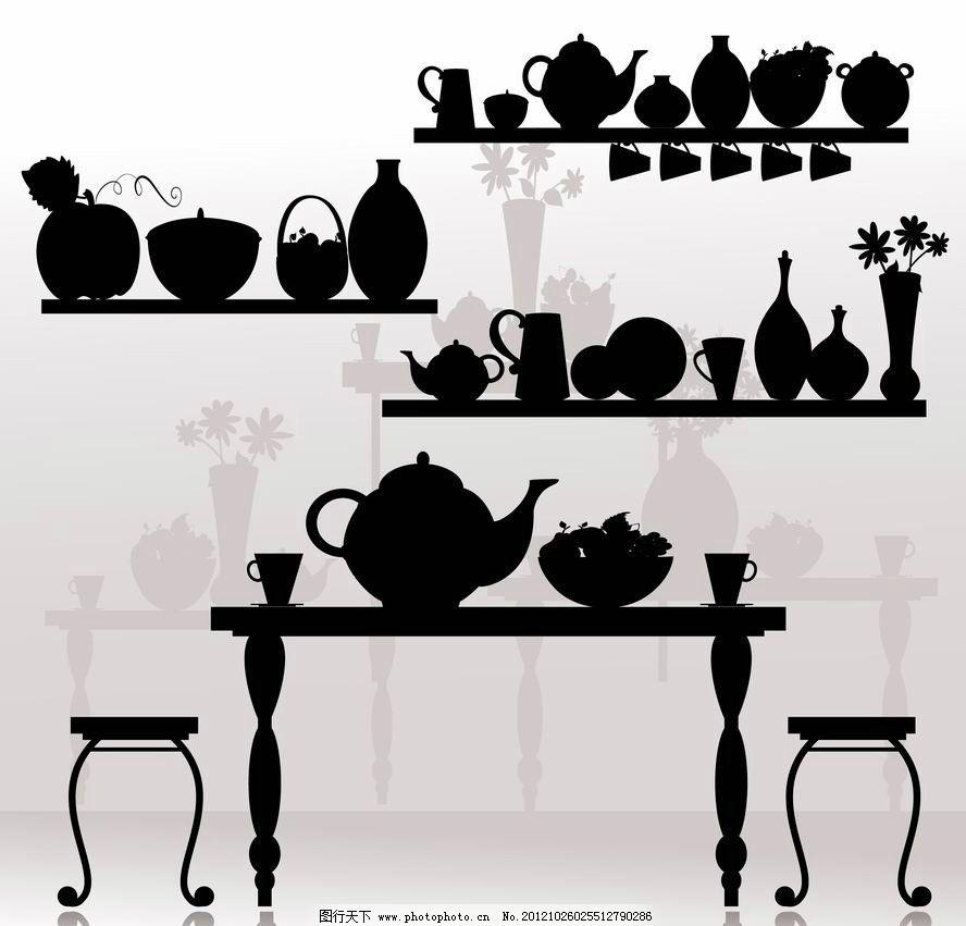 茶具剪影 茶壶 茶杯 手绘 矢量