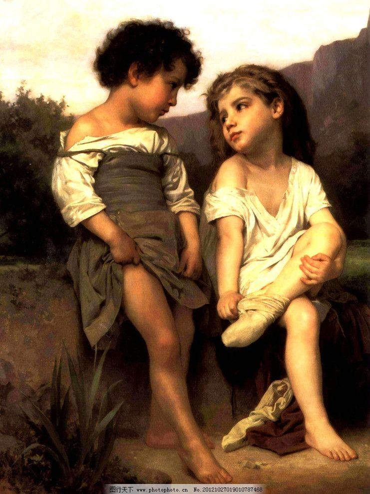 童年之馨 美术 油画 人物画 国外儿童 男童 女童 动作 表情