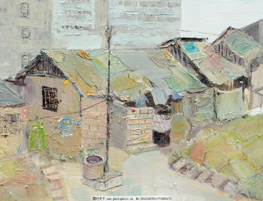 遗忘的角落模板下载 遗忘的角落 美术 油画 风景画 房屋 老房子 老井