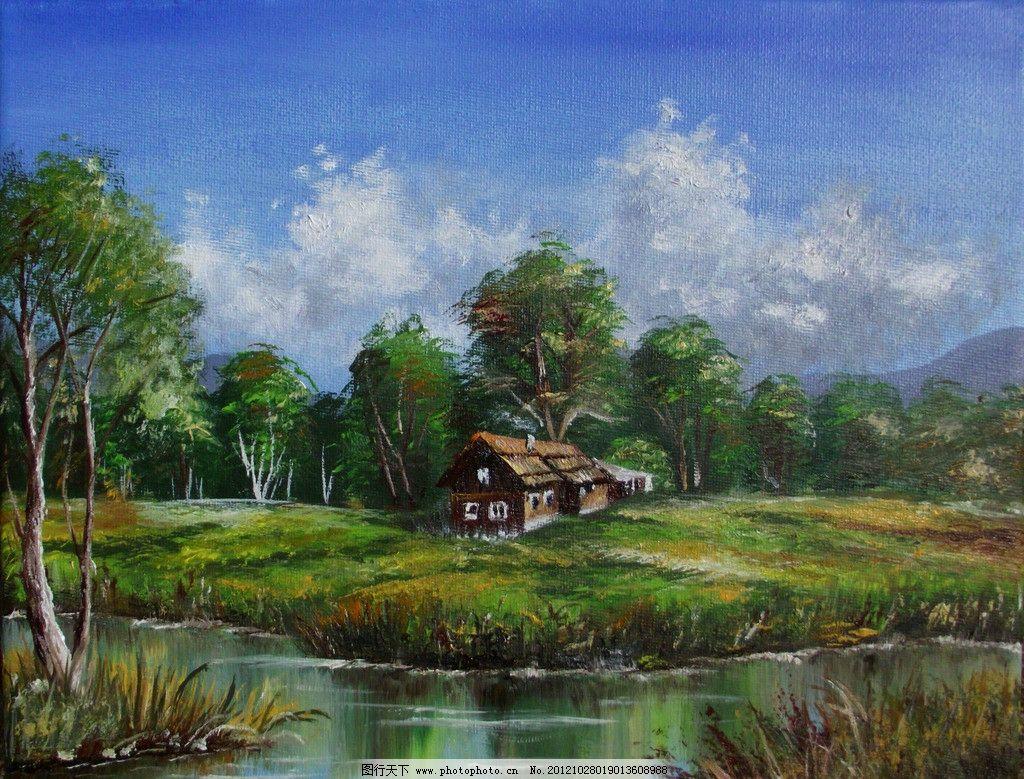 油画 河岸小木屋图片