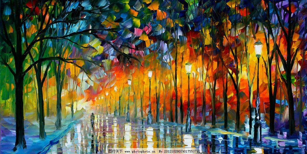 油画 秋季夜雨 油画风景