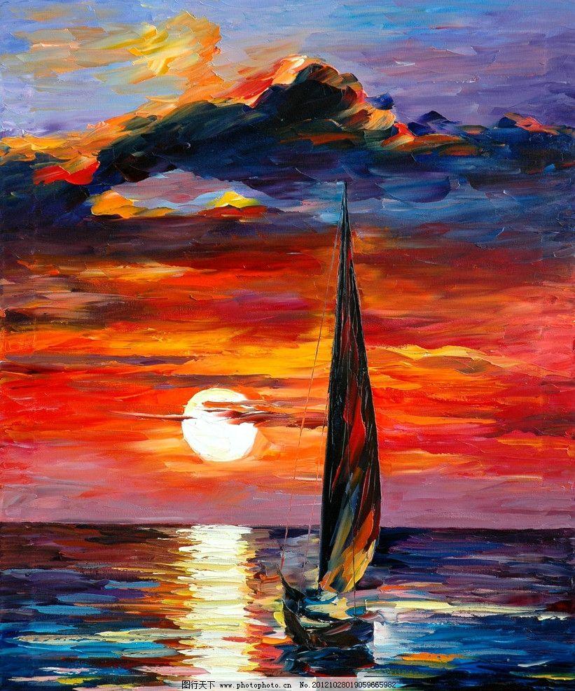 油画 夕阳帆船 油画风景 绘画 艺术 油画艺术 帆船 夕阳 落日 晚霞