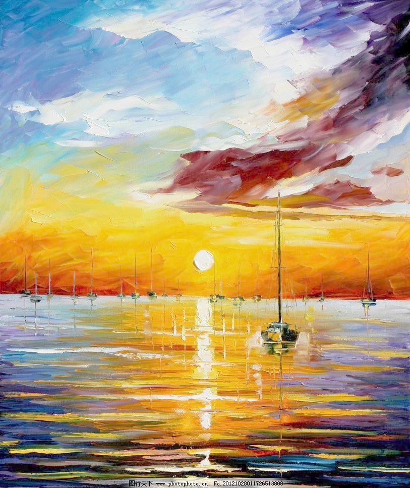 海港渔船 油画风景 绘画 艺术 油画艺术 海港 港口 渔船 木船 海洋
