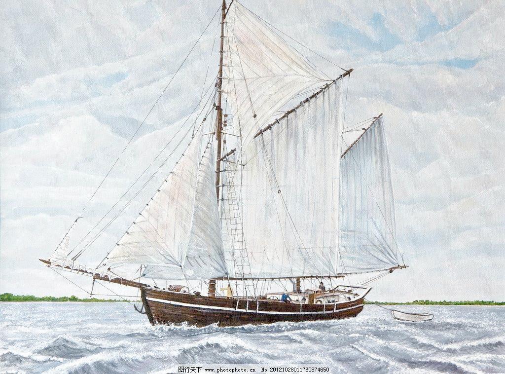 油画 海洋帆船设计素材 海洋帆船模板下载 海洋帆船 油画风景 绘画