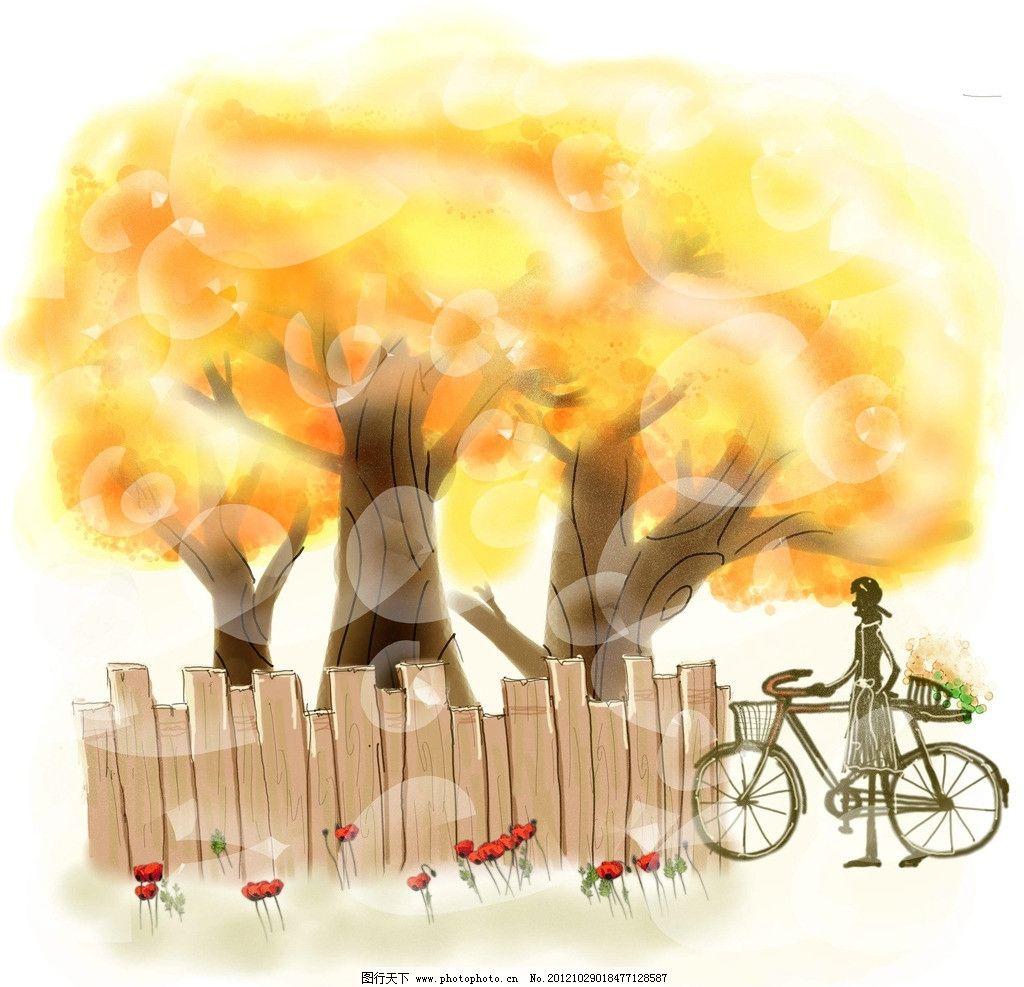 金秋 秋天 树 黄色 围栏 红花 光斑 人物 韩国 插画 自行车 风景漫画
