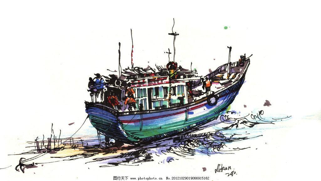 渔船手绘图片