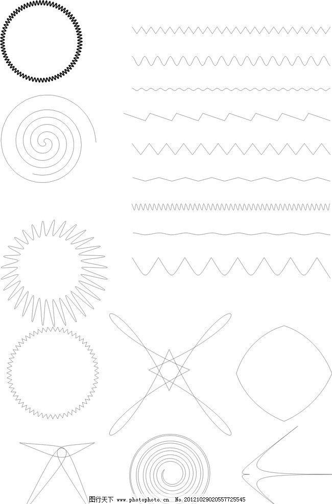 线条 波浪线 艺术线条 弹簧 条纹线条 底纹边框 矢量 cdr