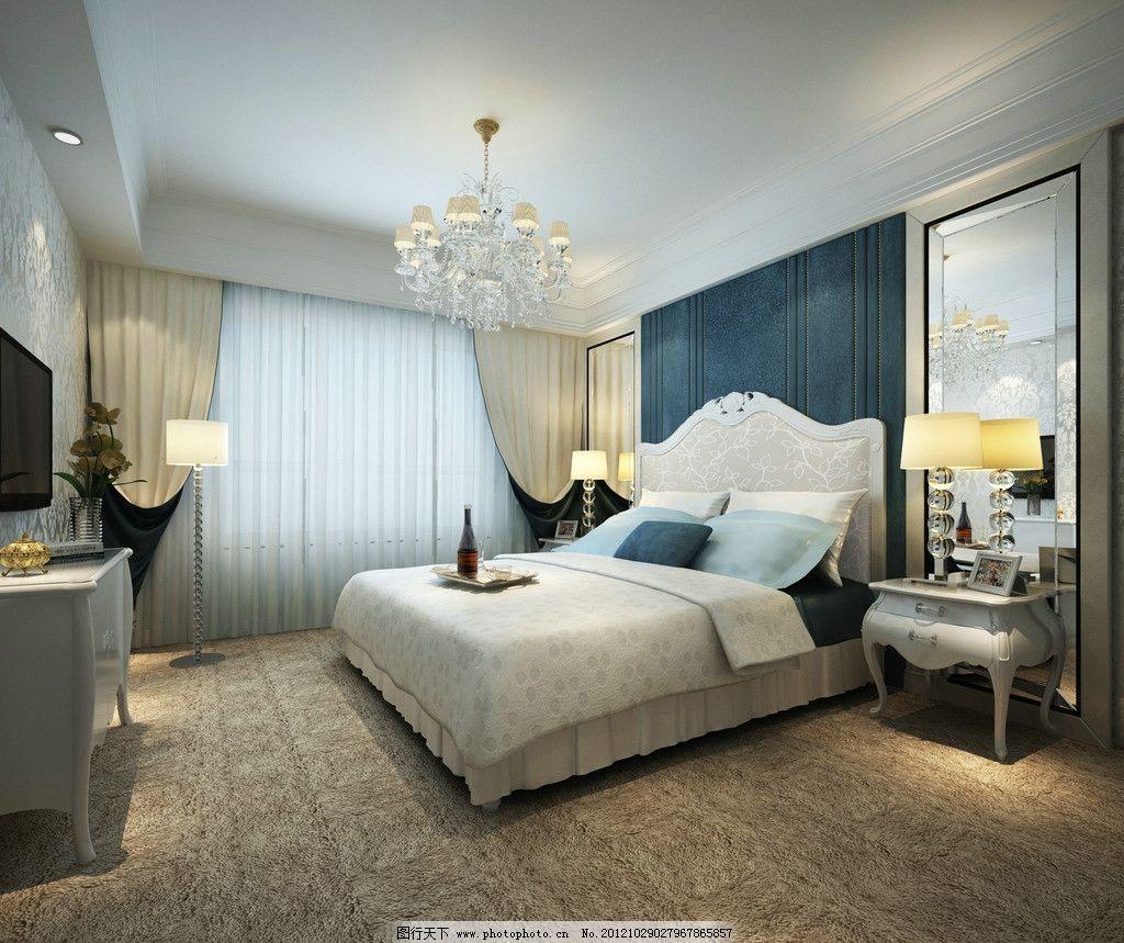 卧室效果图             简欧 地毯 吊灯 背景墙 室内设计 环境设计