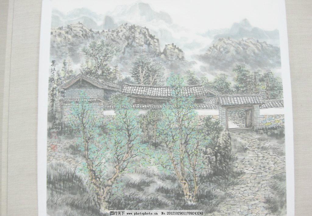 国画图片免费下载 180dpi jpg 房屋 风景画 国画 绿树 美术绘画 山水