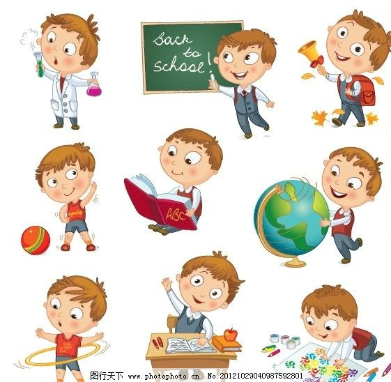 玩耍 卡通 儿童 孩子 幼儿 小男孩 小女孩 小学生 表情 动作 姿势 有