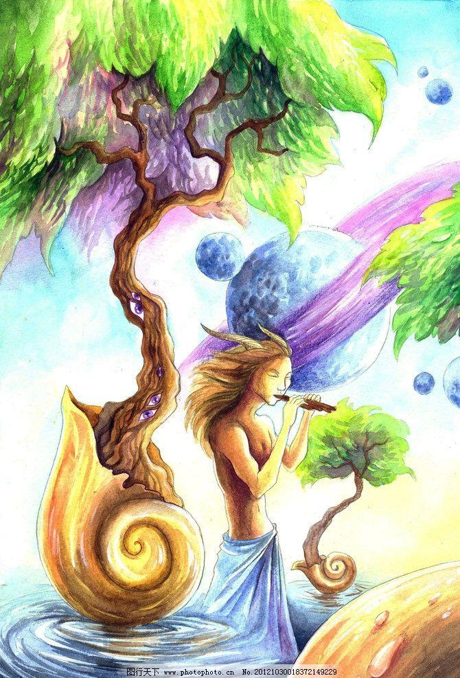 蜗牛女 蜗牛 树枝 水面 女性 女人 蜗牛人 蜗牛女人 手绘 吹笛 动漫