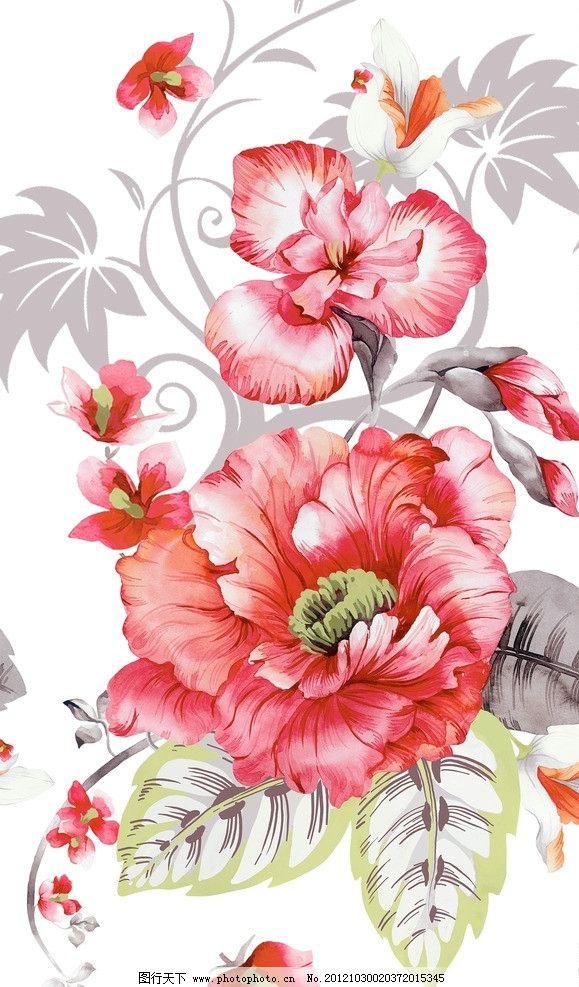 牡丹花 抽象 红色 绿色 叶子 底纹 花边花纹 底纹边框 设计 72dpi jpg