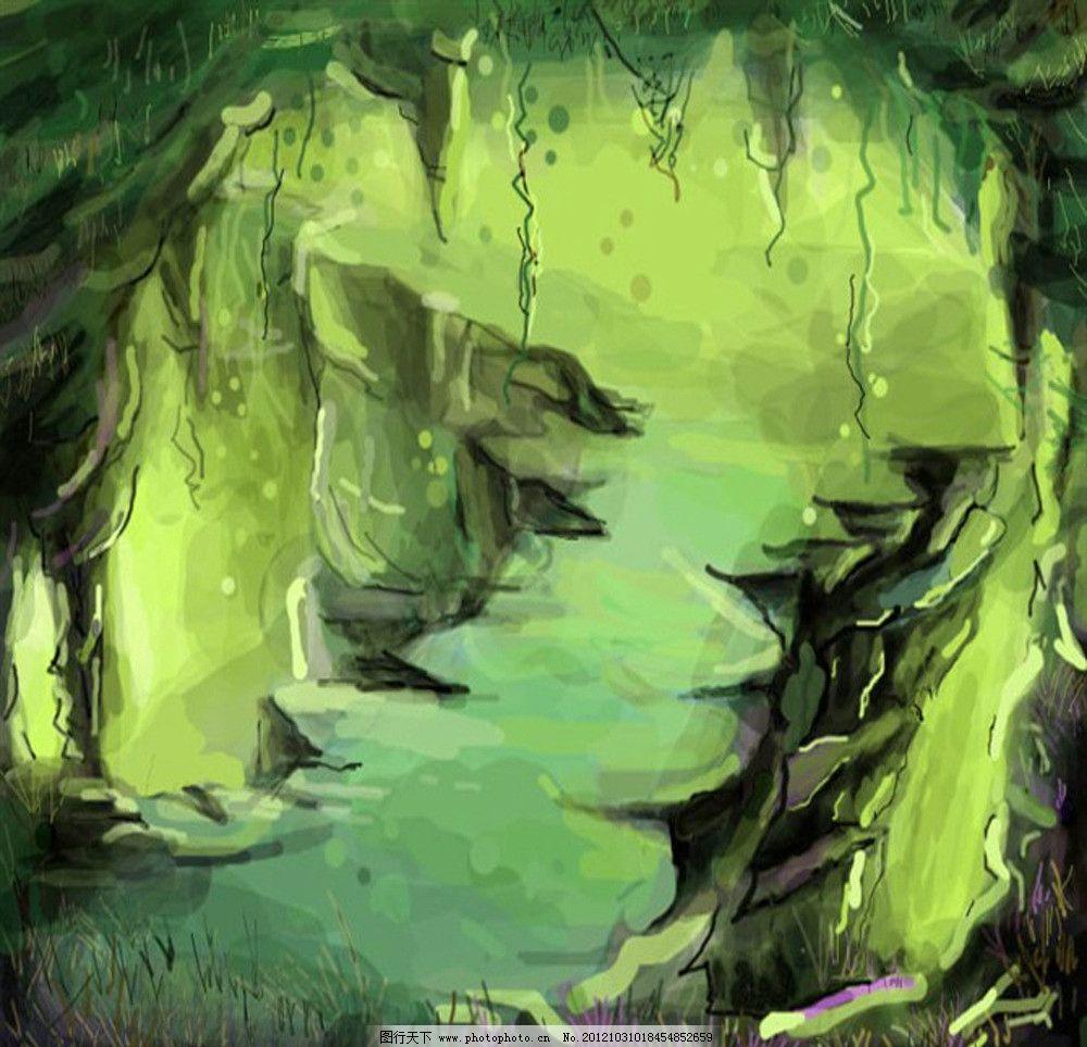手绘洞穴 手绘 绿色 山洞 洞穴 鼠绘 风景漫画 动漫动画 设计 96dpi