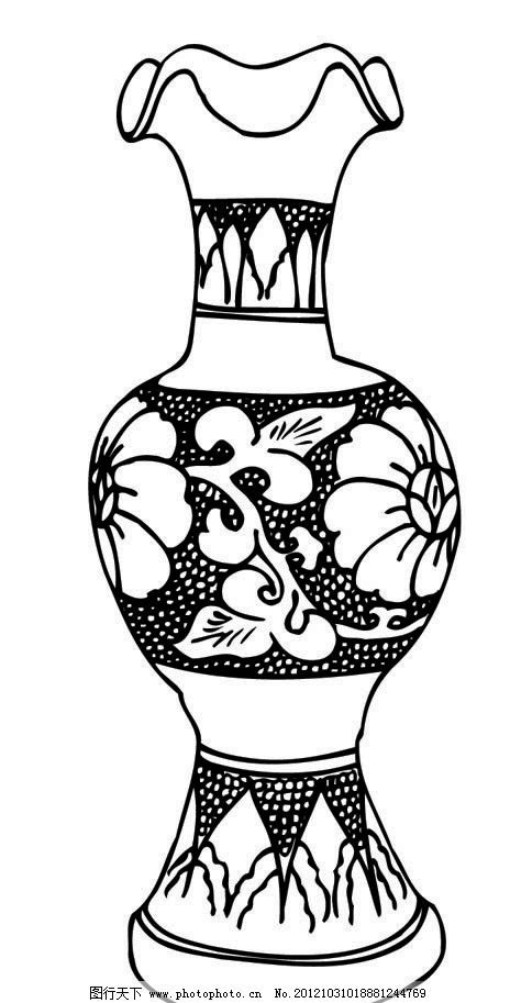 瓷器 瓶 古代 中国 传统 花 图案 瓶子 陶瓷 民间艺术 矢量