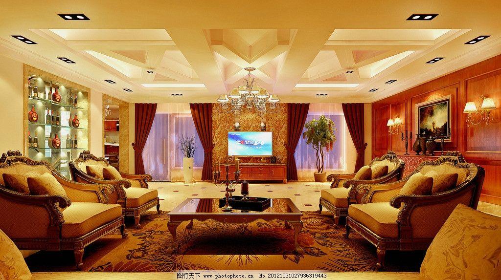 欧式 室内效果图 新古典 豪华 别墅 会客厅 酒柜 地下室 背景墙 室内