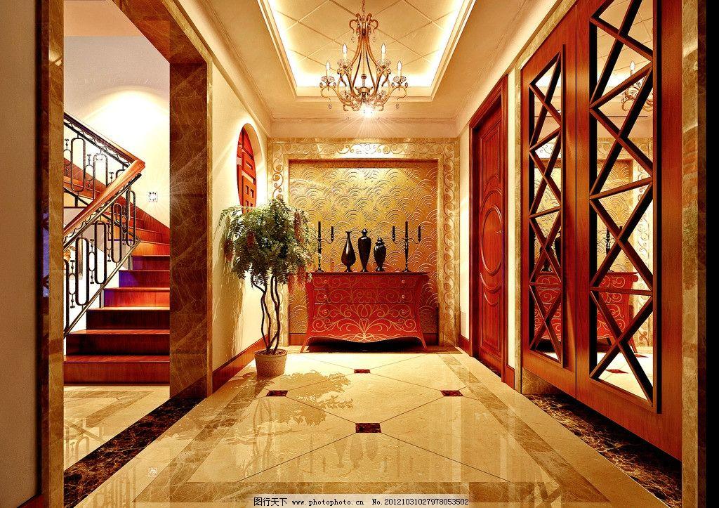 欧式 室内效果图 新古典 豪华 别墅 门厅 鞋柜 楼梯 装修玄关 地面