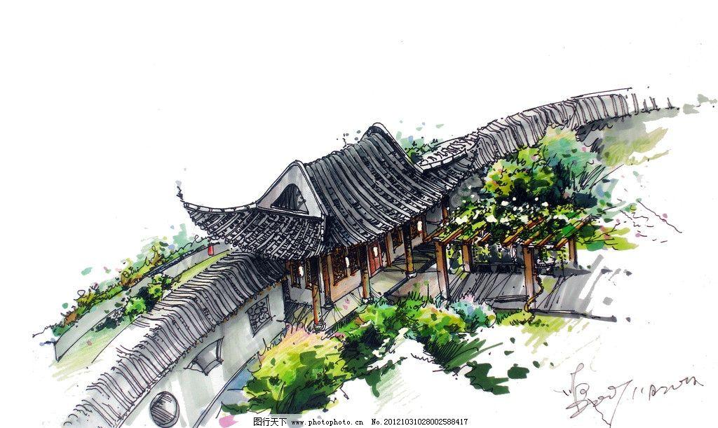 复古建筑手绘 周熙鵾手绘 马克笔表现 亭榭 景观设计 速写