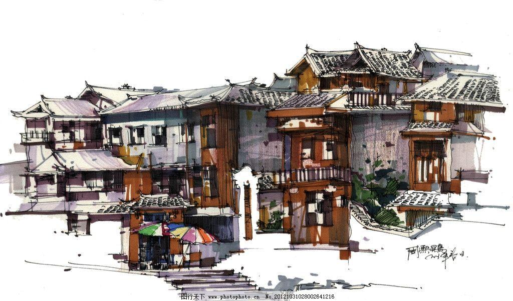 建筑彩绘 周熙鵾 手绘 凤凰 古镇 古建筑 建筑手绘