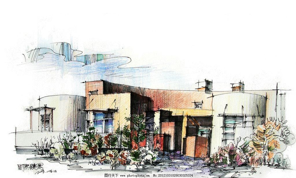 建筑手绘 周熙鵾手绘 设计表达 景观 盆栽 沙漠 别墅 彩铅表现