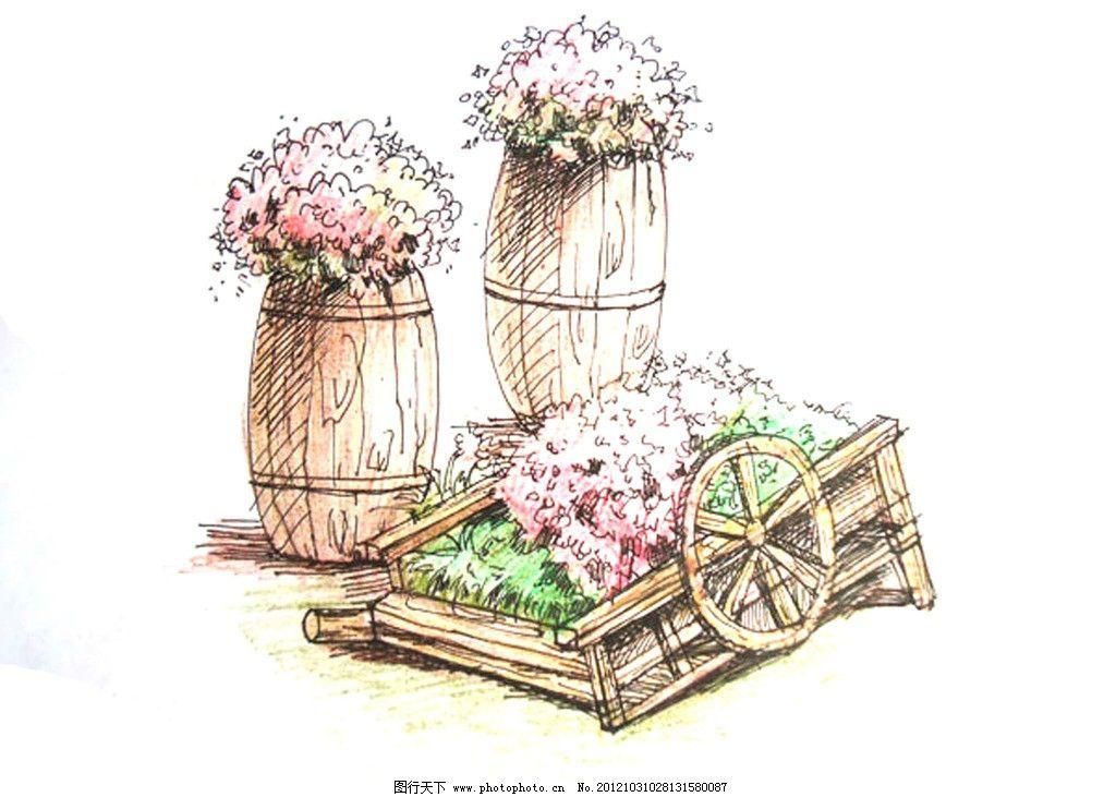景观小品手绘 手绘 园林 小品 花坛设计 粉色 花朵 植物 景观设计