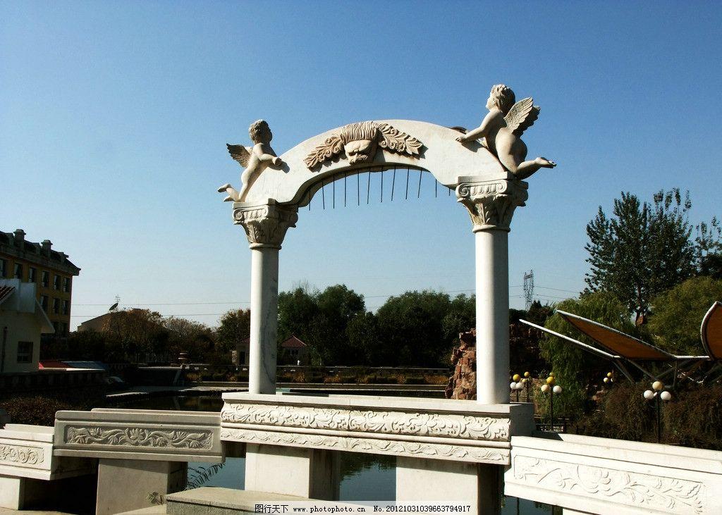 园林雕塑 建筑园林 欧式建筑 欧式雕塑 石头拱门 雕塑 摄影 300dpi
